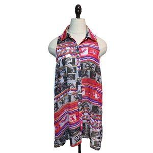 MUMU sleeveless printed button up dress tunic top